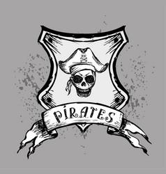 pirate emblem or design element hand drawing vector image vector image