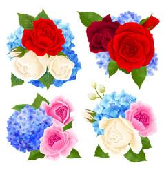 Rose bouquet concept icons set vector