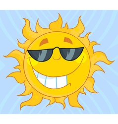 Smiling Sun Mascot Cartoon Character With Sunglass vector image