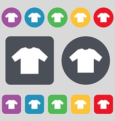 t-shirt icon sign A set of 12 colored buttons Flat vector image