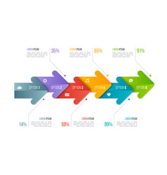 timeline chart infographic template with arrows 6 vector image vector image