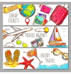 Travel sketch banners set vector