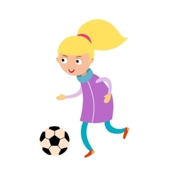 Young child girl playing football vector