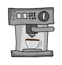 silhouette color hand drawn with coffee maker with vector image