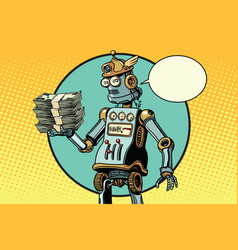 retro robot with a bundle of money vector image