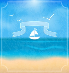 Holiday card with beach for your summer design vector