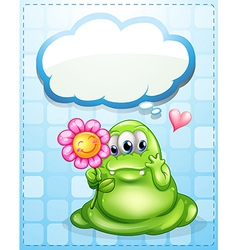 A fat green monster holding a flower with an empty vector