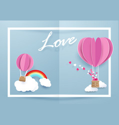 heart shape balloons flying over clouds vector image