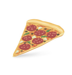 pizza piece isolated food icon italian fastfood vector image