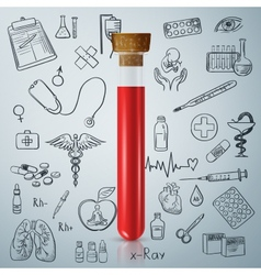 Test tube and hand draw medicine icon vector