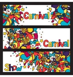 Carnival show banners with doodle icons and vector