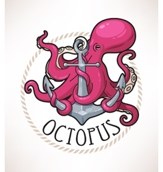 Anchor and octopus vector image