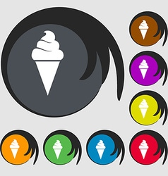 ice cream icon Symbols on eight colored buttons vector image