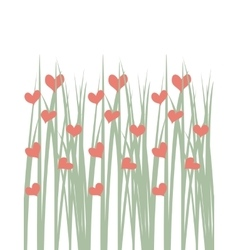 Seamless of green grass with hearts vector