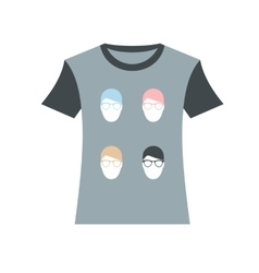 T-shirt with men portraits icon vector