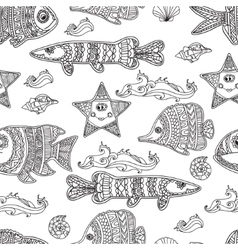 Hand draw seamless pattern ornament fishes vector