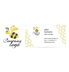 Merry bee business card vector