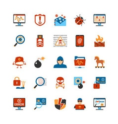 Flat design hacker icons vector