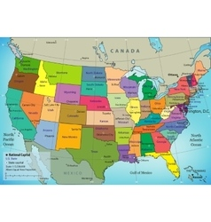 Usa map with federal states all states are vector
