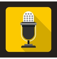 Retro microphone icon in flat style vector