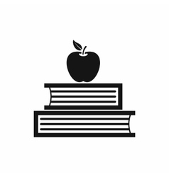 Books and apple icon simple style vector
