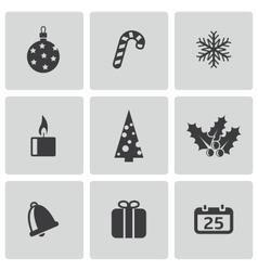 black cristmas icons set vector image vector image