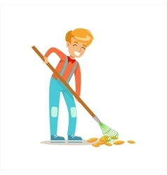 Boy raking fallen autumn leaves helping in eco vector