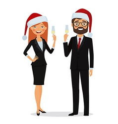 Business people congratulate on the Christmas vector image vector image