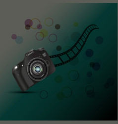 Cameracamera roll fil circles on a dark vector