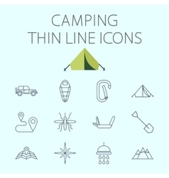 Camping related flat icon set vector
