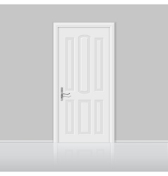 Closed white door with frame isolated vector image vector image