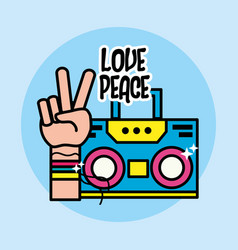 Cute radio and hand symbol of peace and love vector