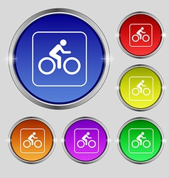 Cyclist icon sign round symbol on bright colourful vector