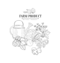 Farm Product Hand Drawn Realistic Sketch vector image vector image