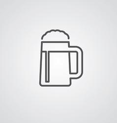 glass of beer outline symbol dark on white vector image