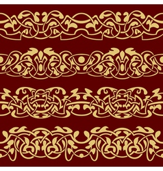 Gold floral seamless border vector