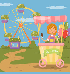 Ice cream stall amusement park concept vector