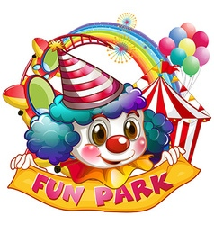 Jester and fun park sign vector