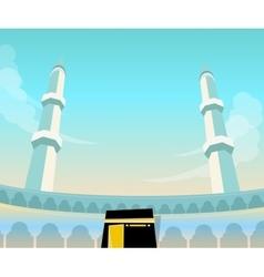 Mecca mosque madina islam worship dome minaret vector
