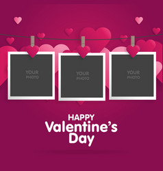 Postcard happy valentines day with a blank vector
