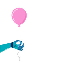 robotic hand background with a pink balloon vector image vector image