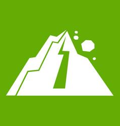 rockfall icon green vector image vector image