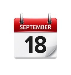 September 18 flat daily calendar icon vector
