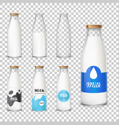 Set of icons glass bottles with a milk in a vector
