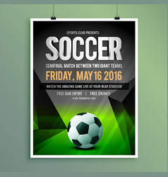 Soccer game flyer template design vector