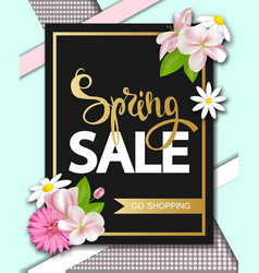 Spring sale with beautiful flowers greeting card vector