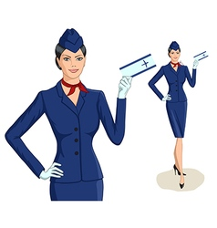 Stewardess with ticket vector image vector image