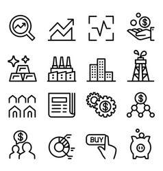 stock market stock exchange icon set in thin vector image vector image