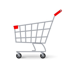 Supermarket shopping cart side view empty vector