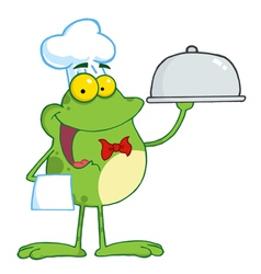 Waiter Frog Holding A Platter vector image vector image